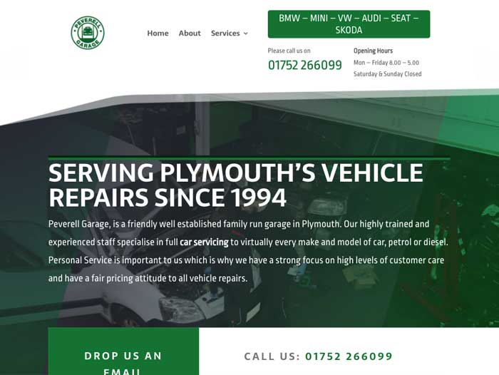 Peverell Garage Website Design